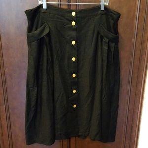 Effortless feature Midi Skirt Black Linen Sz 22